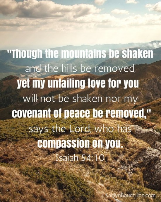 Though the mountains be shaken and the hills be removed... Isaiah 54:10 // free printable
