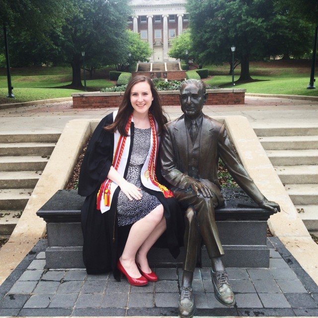 Graduation at Samford University with the Mr. Beeson statue.