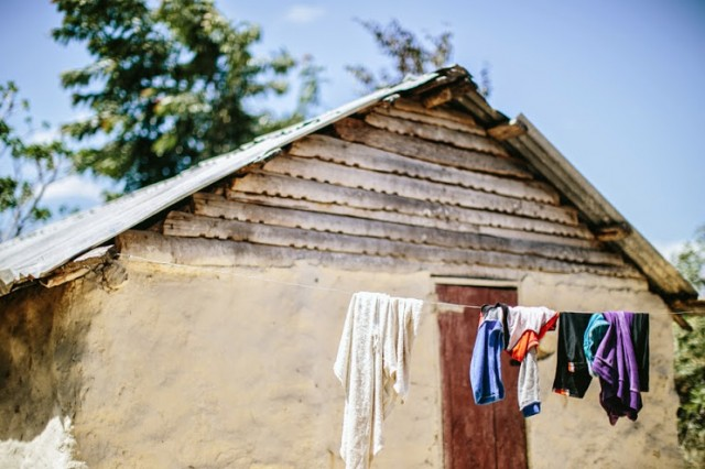 Clothes on a line in Haiti