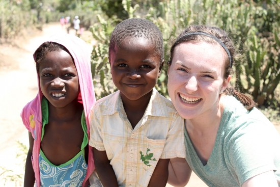 Kaitlyn with two children in Haiti - 2016.