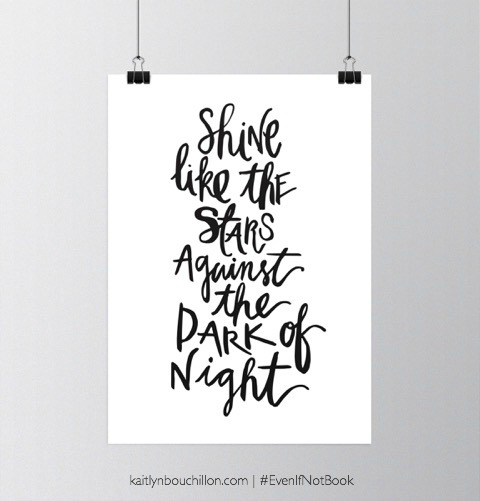 We are called to shine like the stars against the dark of night.