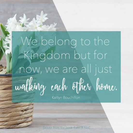 We belong to the Kingdom, but for now we are all just walking each other home. #EvenIfNotBook