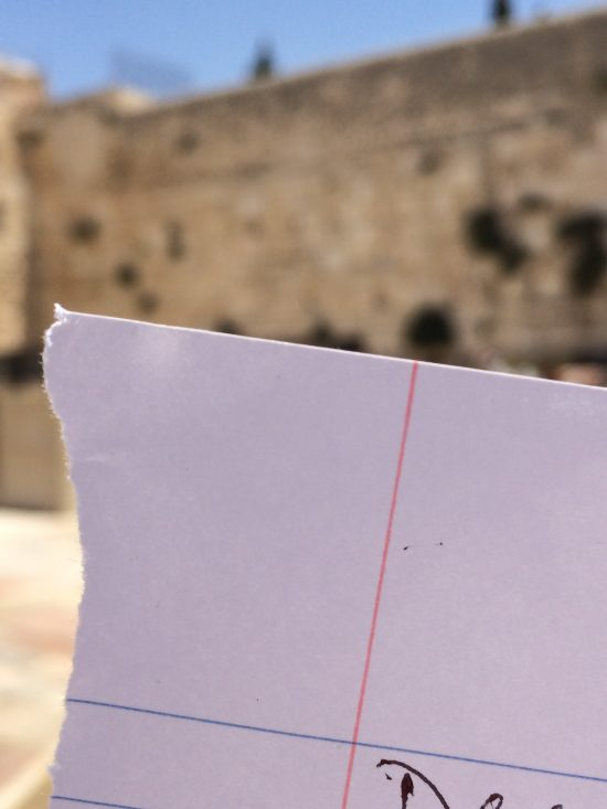 Western Wall note