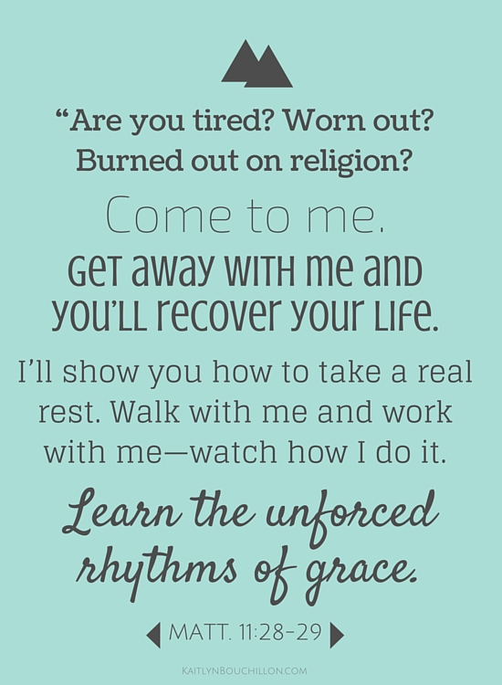 Choosing Sabbath means learning the unforced rhythms of grace. Matthew 11:18-29