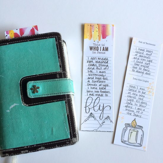 I use Illustrated Faith Bible journaling tip-ins as bookmarks.