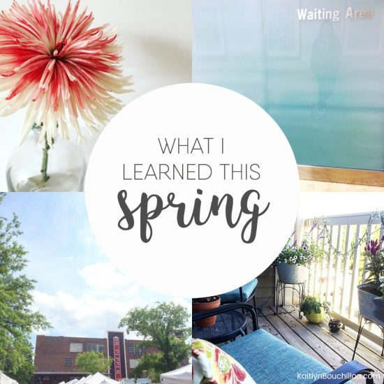 What I learned this spring...
