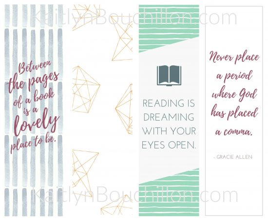 4 (totally free) cute bookmarks! Just download and print...