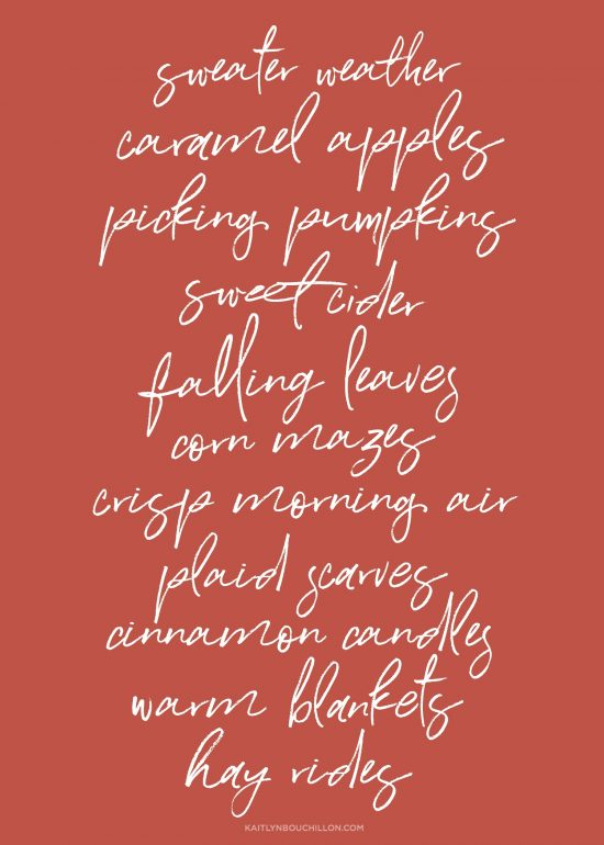 free fall printable: things we love about fall