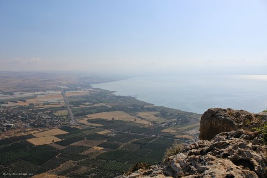 The view of the Sea of Galilee from Mt. Arbel. Picture taken by Kaitlyn Bouchillon.