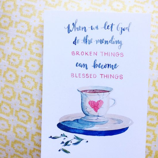 When we let God do the mending... (free print from kaitlynbouchillon.com)