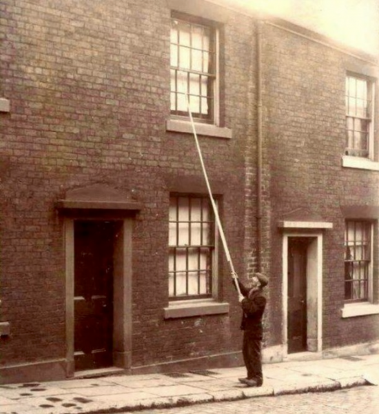Before alarm clocks were affordable, 'knocker-ups' were used to wake people early in the morning.