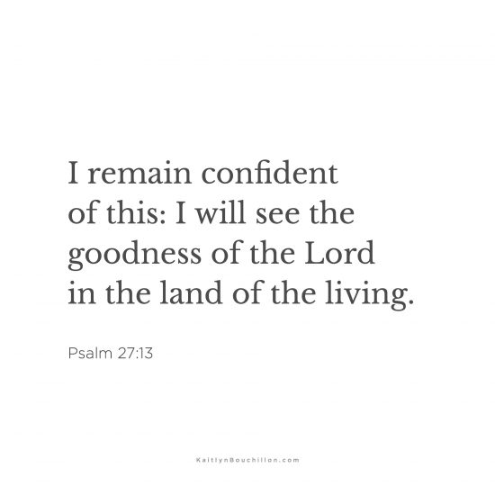 I remain confident of this: I will see the goodness of the Lord in the land of the living. Psalm 27:13